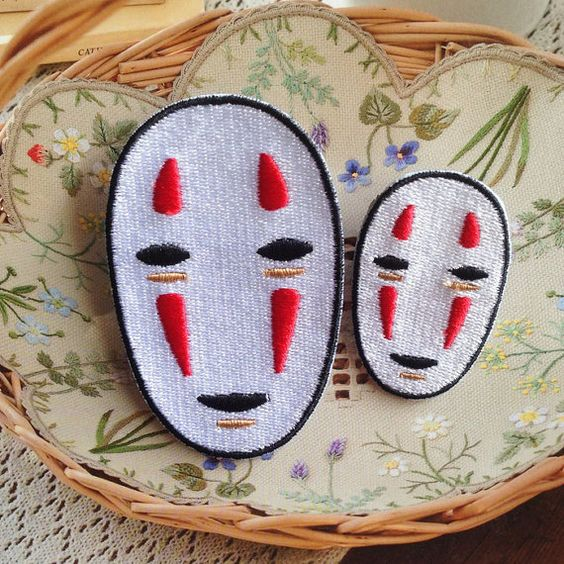 NO FACE Spirited Away Patch Embroidered Animation Sew on Iron on Patches   Iron on Backing  Brighten up t-shirts, jeans, baby clothes or any