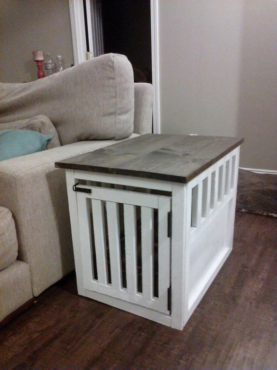 Side Table Dog Crate by DirtyPawsLA on Etsy $150 00