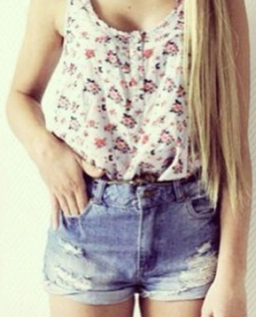 Floral shirt and ripped jean shorts
