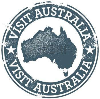 outback: Vintage Visit Australia Stamp Illustration