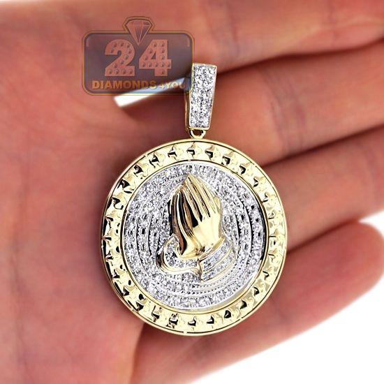 Mens Diamond Praying Hands Round Medallion 10k Yellow Gold Plain Gold Pendant White Gold Pendants Mens Pendant