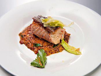 seared-salmon-over-red-quinoa-risotto-with-chorizo