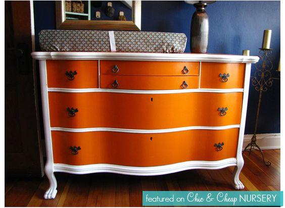 Orange and white dresser
