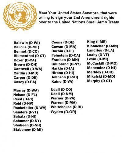 SHARE THIS WITH EVERY GUN OWNER! Here Are the 46 Senators Who Voted to Turn Your 2nd Amendment Rights Over to UN...