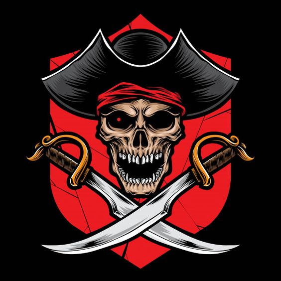 Skull pirate with sword vector Premium V... | Premium Vector #Freepik #vector #character #cartoon #sea #skull