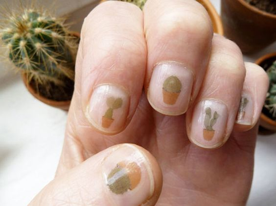 Nail art for cactus lovers.