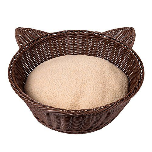 Foreyy Round Cat Bed With Soft Cushion Poly Rattan Indoor Pets
