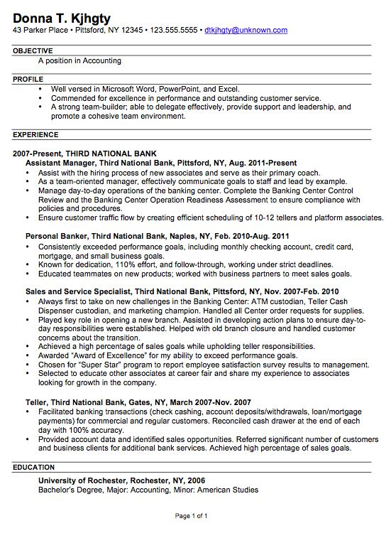 Resume, Accounting and Resume examples on Pinterest - personal banker resume examples