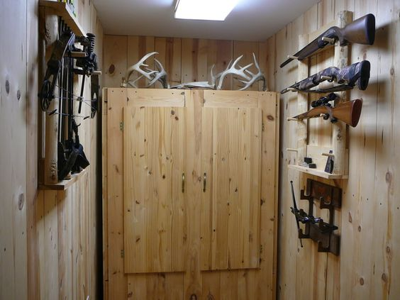 Man Cave Dressing Room : Closet for hunting clothes show me your man cave trophy