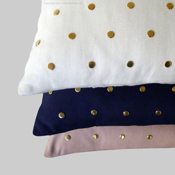 Gold Studded Pillow Cover in Cream Linen 12x20 | Polka Dot Pattern | by JillianReneDecor