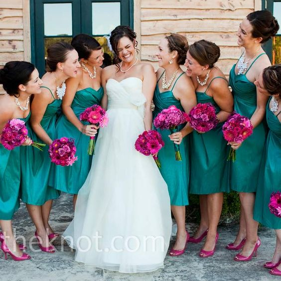 Amanda and Jess- This is kind of what I kind of invision for our colors...Teal Bridesmaid Dresses with pinkish purpleish flowers
