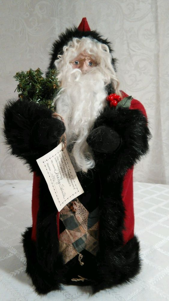 "Collectible RARE 18"" Country Santa TREASURES OF THE HEART Lynette Dager SIGNED"