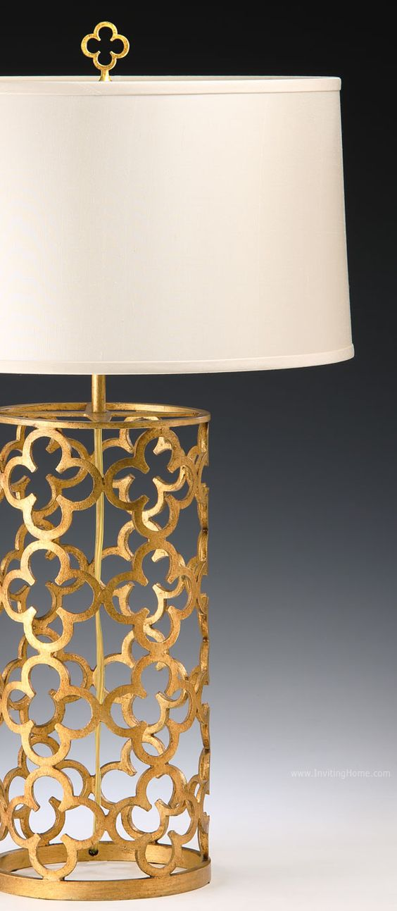 hand-wrought iron table lamp with antique gold leaf finish