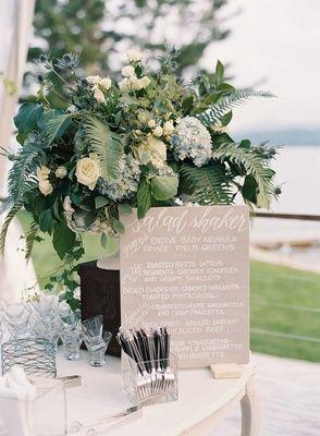 """Salad Shaker"" Wedding Sign    Photography: Tec Petaja   Read More:  http://www.insideweddings.com/weddings/childhood-friends-celebrate-wedding-at-marriott-familys-lake-house/866/"
