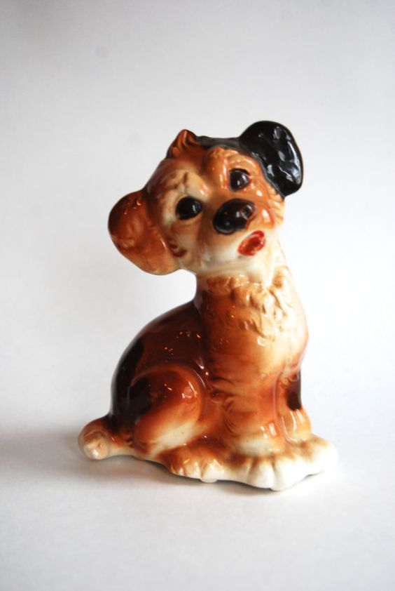 Vintage Dog Pottery Royal Copley by millesimedesigns on Etsy
