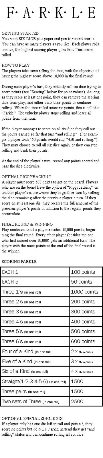 how to keep score in farkle
