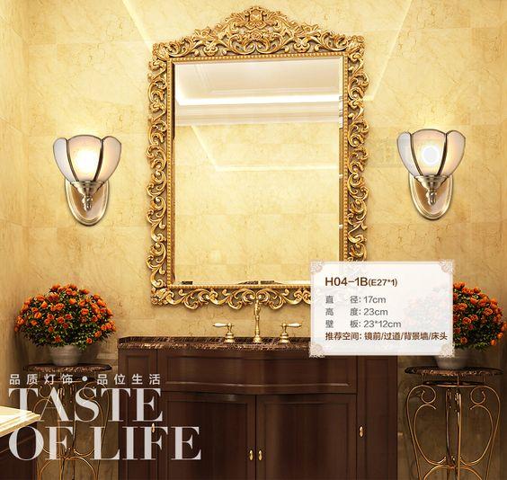 Salle de bains lampe de mur de cuivre rétro abat - jour up & down applique murale lumière miroir intérieur chambre chambre d'hôtel de la lampe de cuivre(China (Mainland))