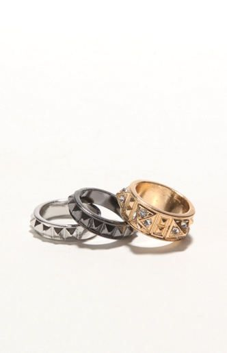 With Love From CA Studded Ring Set at PacSun.com