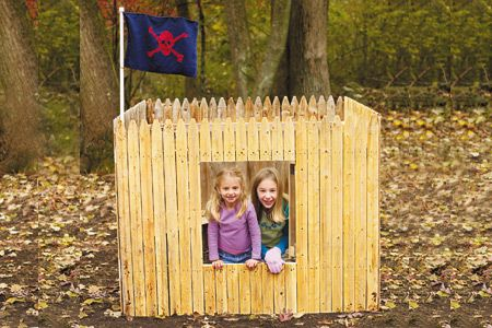 """DIY backyard """"fort"""" - Would be cool to even do just the front and put in diagonally in a corner"""