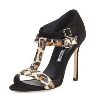 40% off Manolo Blahnik - Suede Leopard T-Strap Sandals Amazca Animal Print Black - $531.00