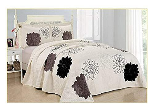 3pcs High Quality Fully Quilted Embroidery Quilts Bedspread Bed