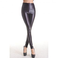 Fitted Style High Elasticity Solid Color PU Leather Cheap Pants For Women (BLACK,ONE SIZE) China Wholesale - Sammydress.com