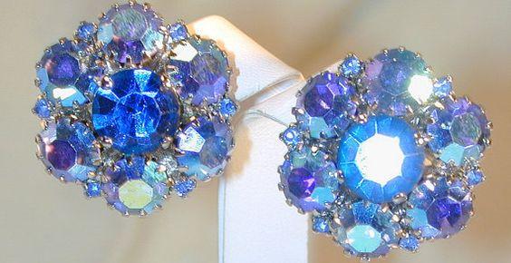 Warner Vintage Blue Aurora Rhinestone Earrings by dejajewels