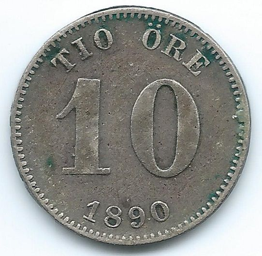 COIN MONEY Sweden 1890 10 Ore Silver  https://ajunkeeshoppe.blogspot.com/  1.0PriorityP727B413009IMG2259,2260