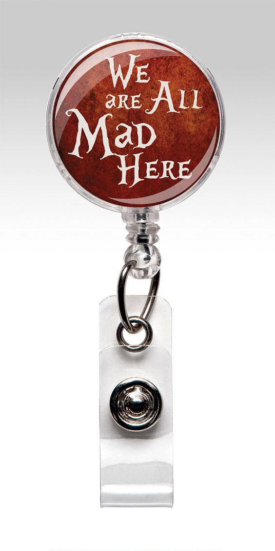 Alice in Wonderland - Retractable ID Badge Holder - Red - Cheshire Cat - Name Badge Reel Clips - Nurse Badge 234
