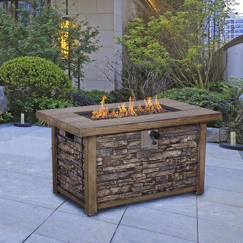 Backyard Creations Stackstone Propane Gas Fire Pit Table Fire Pit Table Backyard Creations Gas Firepit