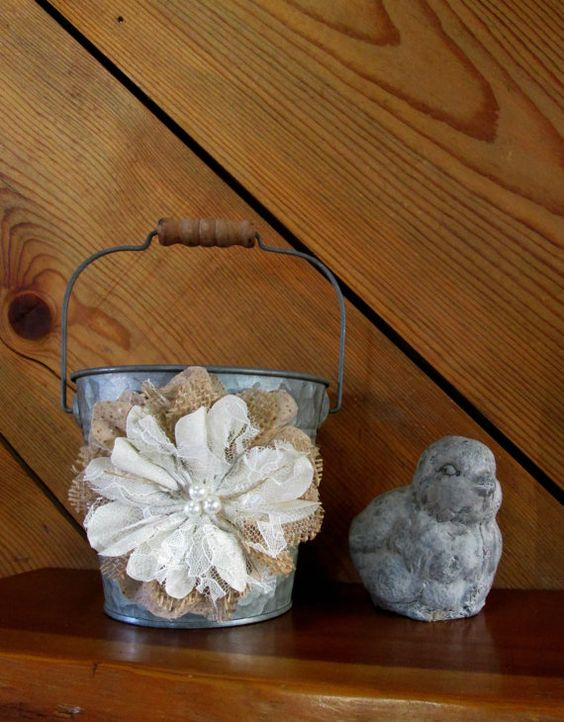 Flower Girl Baskets Burlap And Lace : Flower girl bucket small wedding burlap and