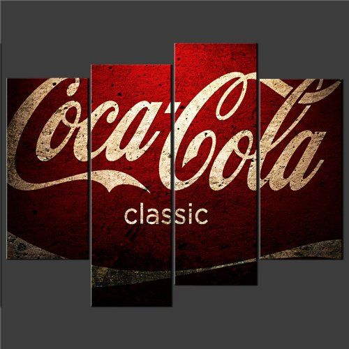 4 panel red coca cola vintage cascade canvas print poster for Coca cola wall mural
