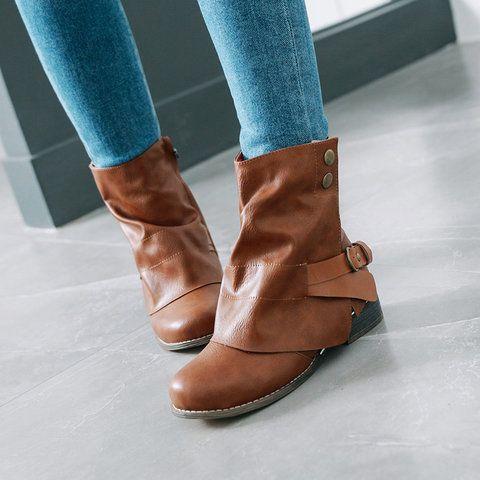 Boots Chunky Heel Gray Round Toe Boots