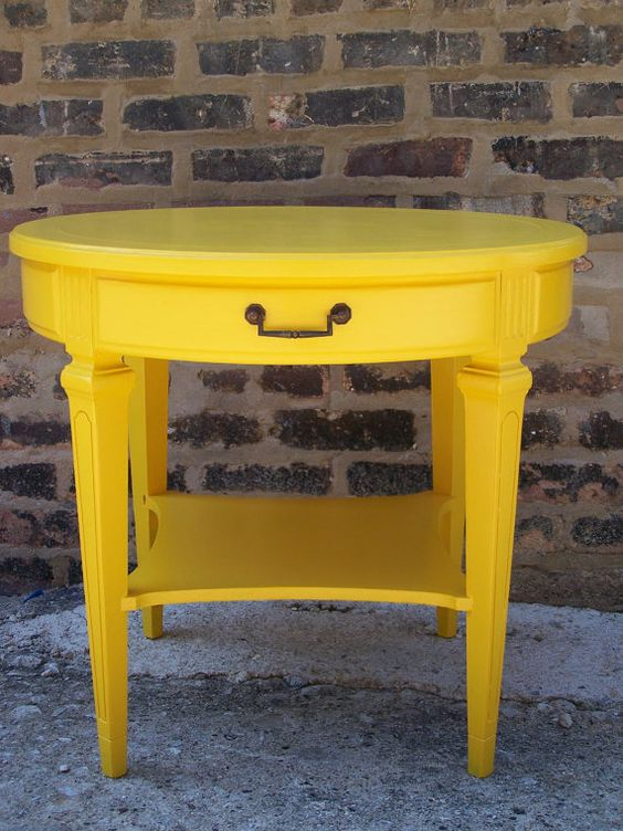 Happy round table in sunflower yellow yellow table side for Yellow painted table