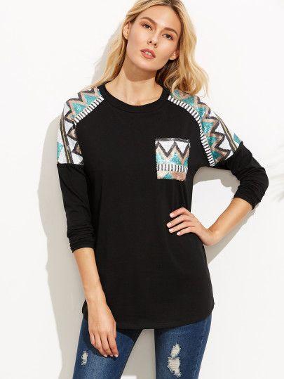 Camiseta manga larga con lentejuelas-Sheinside