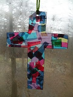 """""""stained glass"""" cross with tissue paper"""