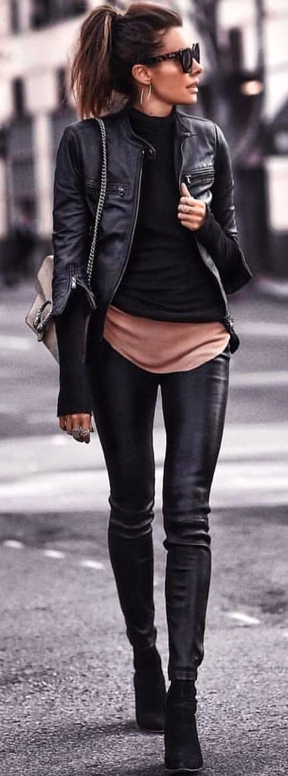 #spring #outfits black leather jacket. Pic by @milano_streetstyle
