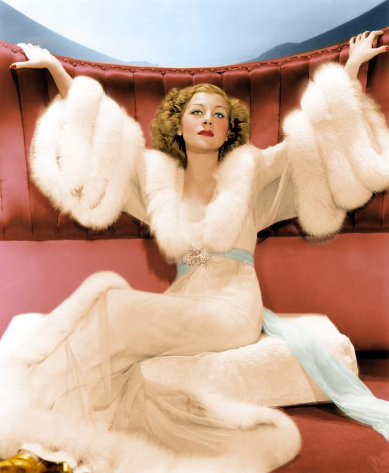 Boudoir Glamour, fur and silk bedroom robe- 1940's style inspiration