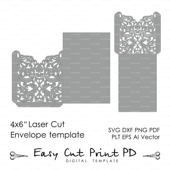 Scroll Wedding Envelope 4x6 pattern Template by EasyCutPrintPD
