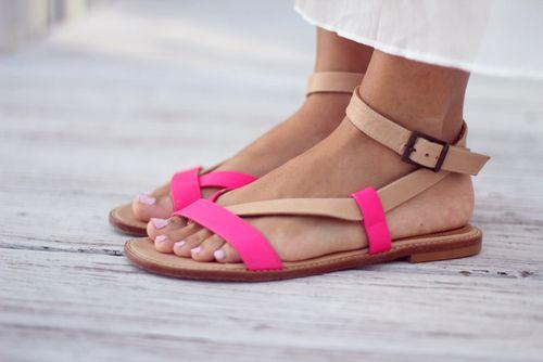 Neon colored sandals. via breakfast at Zara's