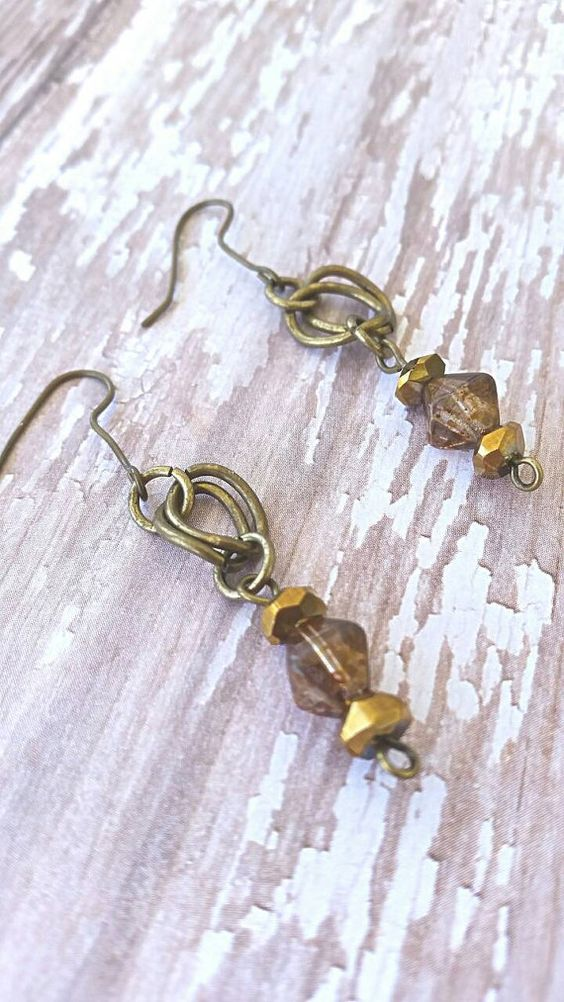 Earrings, Bronzed and Amber Drops by Hollybgroovindesigns on Etsy
