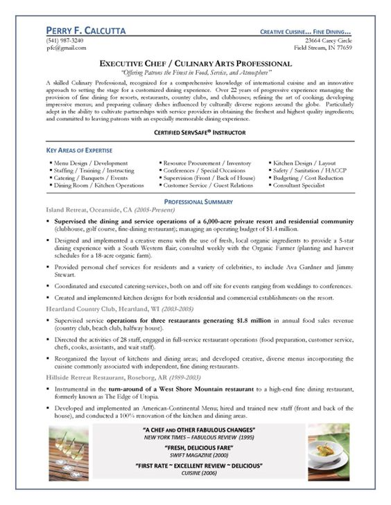 Catering chef sample resume