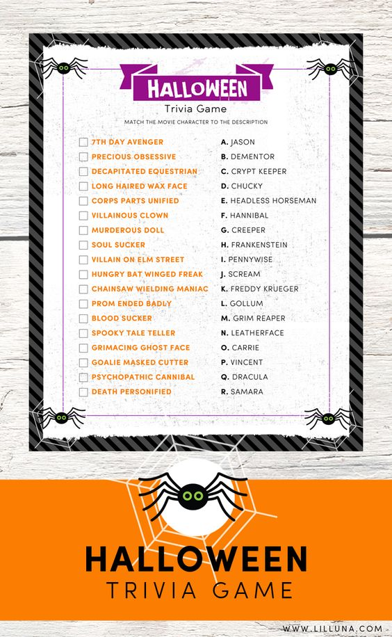 FREE Halloween Trivia Print - just match the movie character to the description - perfect for parties!
