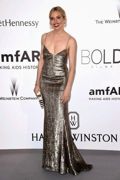Sienna Miller in Ralph Lauren #Cannes2015 #amfARGala
