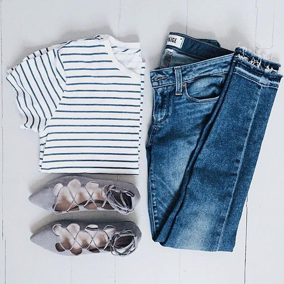 Stripe tee, skinnies and lace up flats