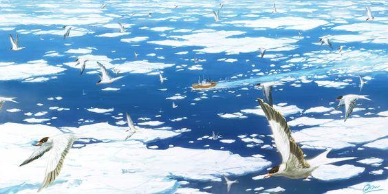 ◯南極観測船「宗谷」 南極へ向かう、南極観測船宗谷とキョクアジサシ。