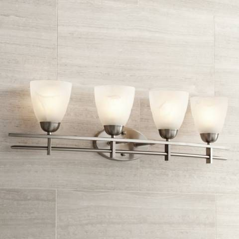 Possini Euro Deco 33 Wide Brushed Nickel 4 Light Bath Light 96106 Lamps Plus Bathroom Light Fixtures Contemporary Bathroom Lighting Bath Light