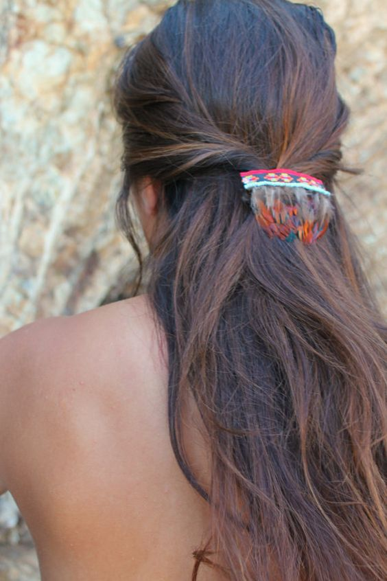 Tribal Feather Barrette - Native American inspired hair ...