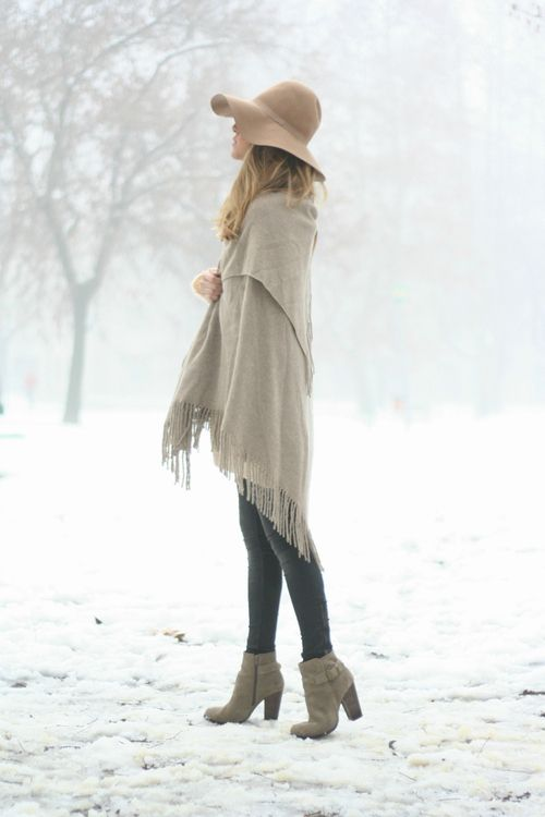 Leggings, booties, wool hat, shawl.. winter fall outfit