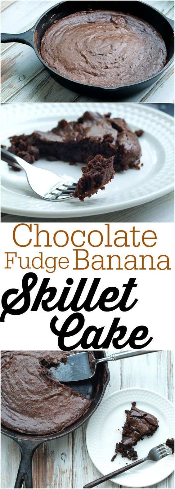 Chocolate Fudge Banana Skillet Cake Recipe--You can make this healthy skillet cake from start to finish in 20 minutes!!  Your dessert is waiting. :)  Vegan and paleo friendly.  No flour and no refined sugar!